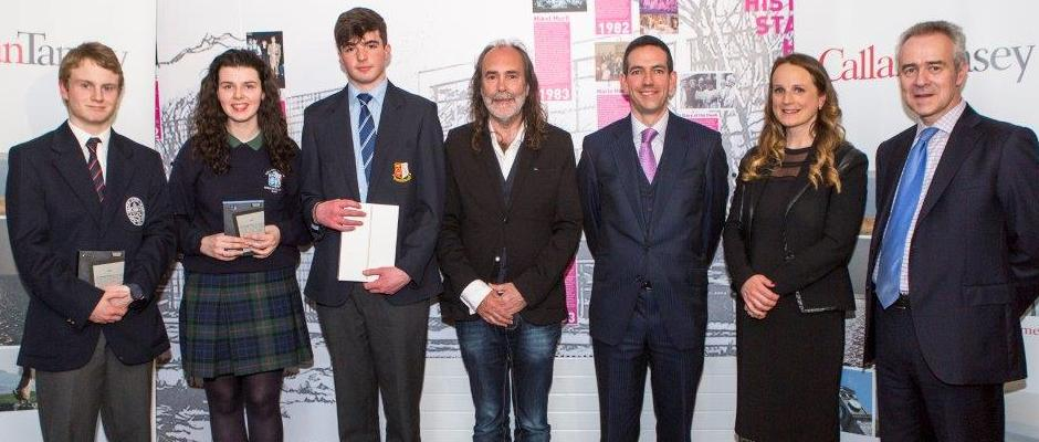 Callan Tansey Essay Competition Winners 2016 with John Waters, Roger Murray & Christopher Callan