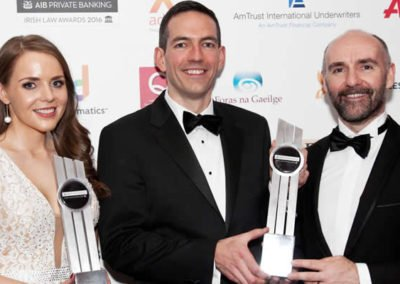 Doireann O'Mahony, Winner of Legal Book of the Year for Medical Negligence & Childbirth, AIB Private Banking Irish Law Awards, pictured with the Winners of the Connaught Law Firm of the Year 2016 Joint Managing Partners Callan Tansey, Roger Murray & John Kelly