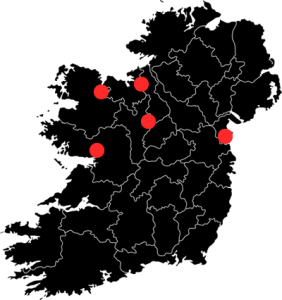Map of Ireland in Black indicating Callan Tansey practices in red dots