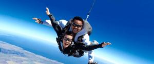 2 men tandem skydiving