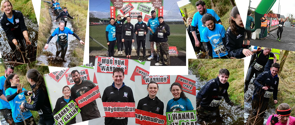 Collage Callan Tansey staff doing mud run