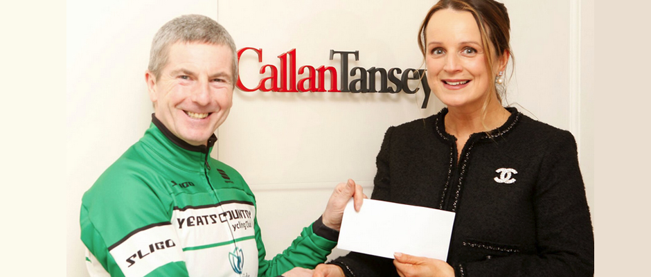 Niamh Ni Mhurchu, Partner at Callan Tansey, recently presented Stevie Finnigan of Yeats Country Club with a sponsorship cheque.