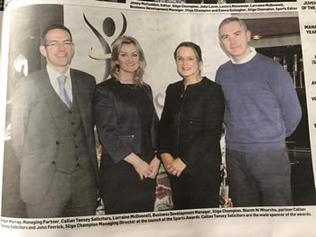 Roger Murray, Managing Partner, Callan Tansey, Lorraine McDonnell, Business Development Manager, Sligo Champion, Niamh Ni Mhurchu, Partner Callan Tansey & John Feerick Sligo Champion Managing Director.
