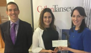 Roger Murray and Elaine McBride presenting cheque to our Sharon Murray for White Boxing fundraising event