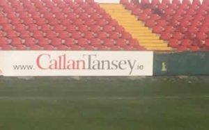 Callan Tansey sponsor on Sligo Rovers pitch