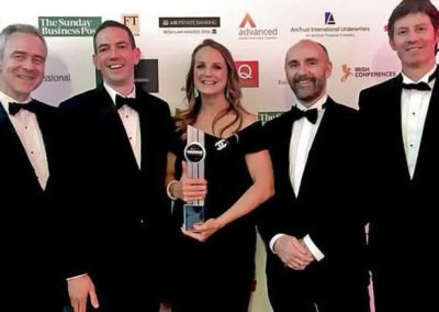 Partners at Callan Tansey Christopher Callan, Roger Murray, Niamh Ni Mhurchu, John Kelly & Brian Gill with Niamh holding award for Connaught Law Firm of the Year 2016