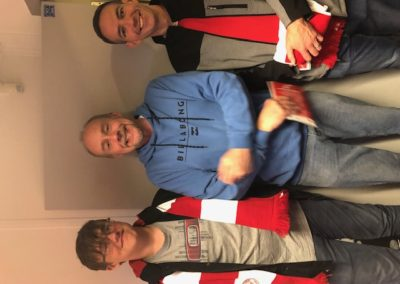 Roger Murray, Jonathan Carter and son at Sligo Rovers match