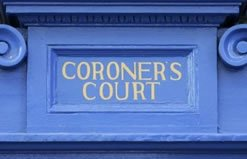 Blue Coroners Court Door