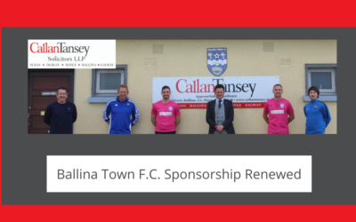 Callan Tansey Renews Sponsorship of Ballina Town FC for 2020 Season