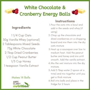 White Chocolate and Cranberry Energy Balls Recipe