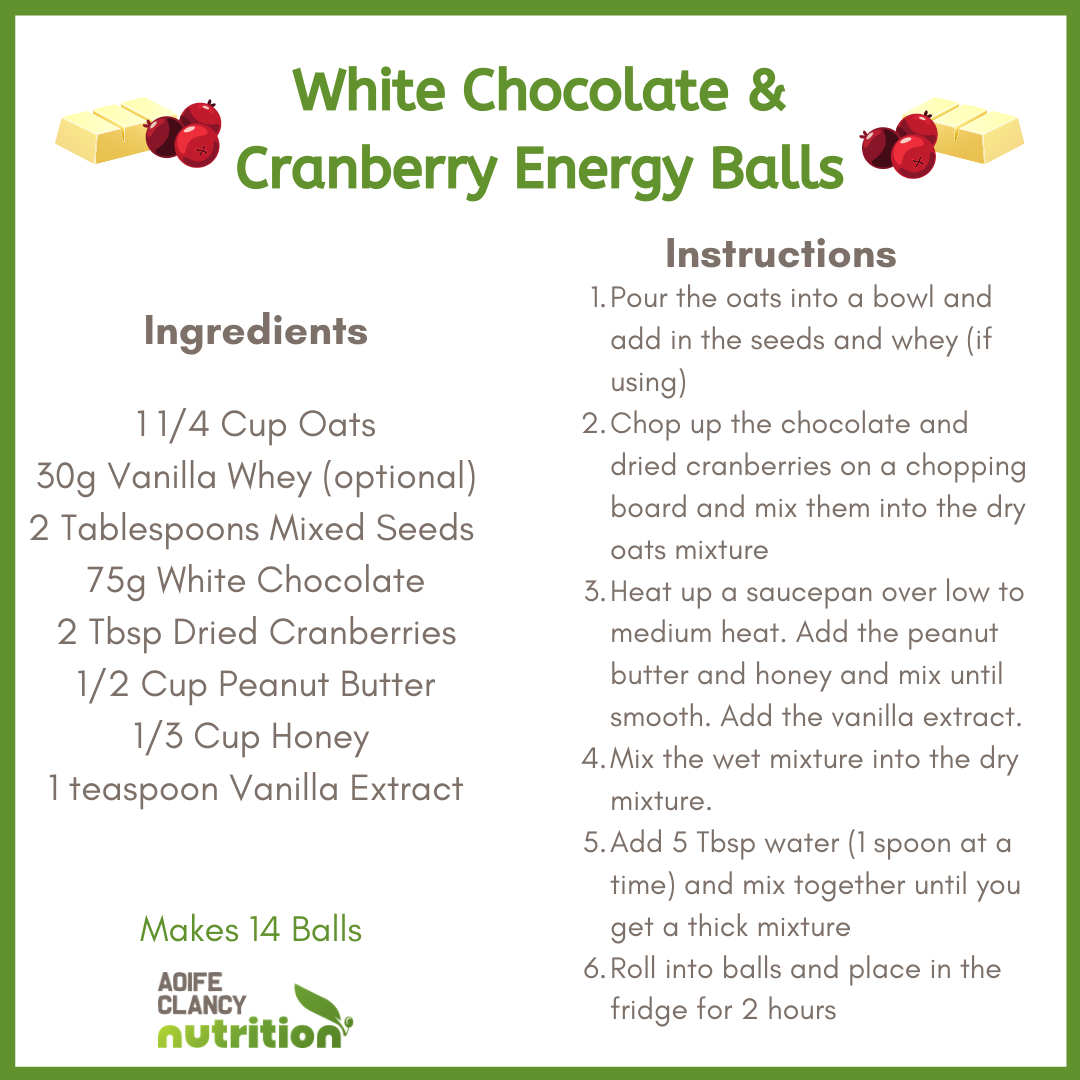 White Chocolate and Cranberry Energy Balls Recipe
